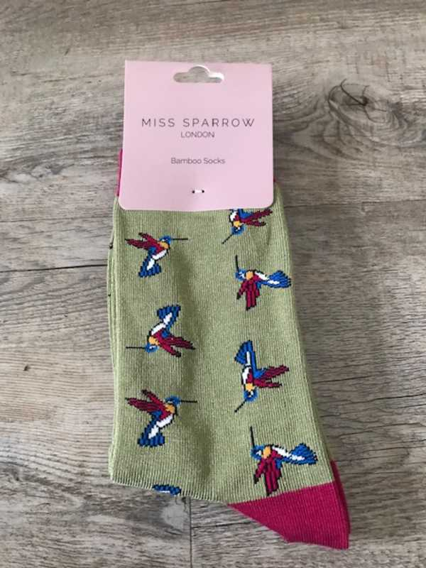 BAMBOO SOCKS - GREEN WITH HUMMINGBIRDS