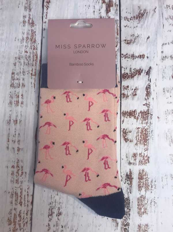 BAMBOO SOCKS - PALE PINK WITH FLAMINGOS