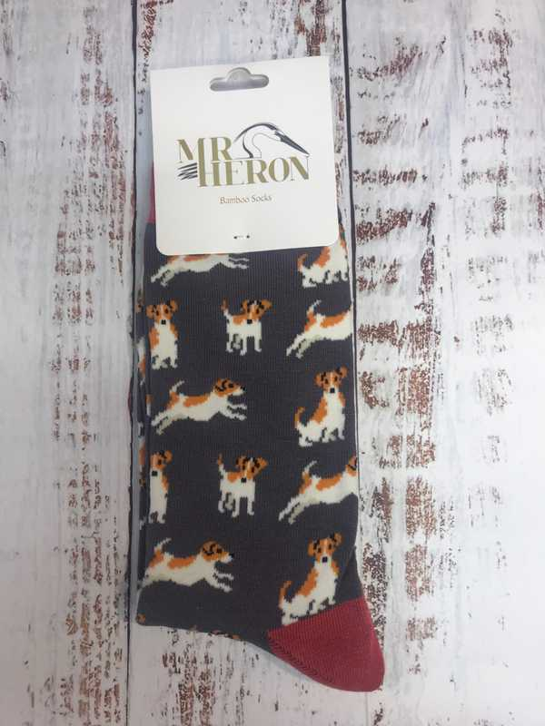 MENS BAMBOO SOCKS - GREY WITH TERRIERS
