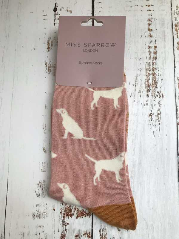 BAMBOO SOCKS - DUSKY PINK WITH LABRADORS