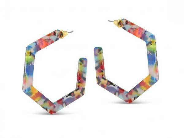 BRIGHT HEXAGON HOOP EARRINGS
