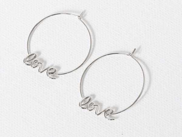 SILVER COLOURED LOVE HOOP EARRINGS