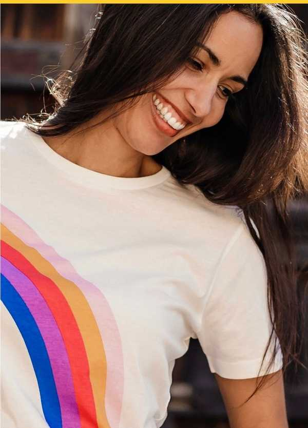 """NEW"" SUGARHILL BRIGHTON - MAGGIE RETRO RAINBOW T SHIRT"